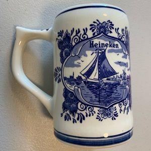 Vintage Heineken Hand Painted Delft Blue Mug